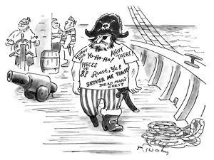 Pirate with T-shirt printed with 'Pirate phrases'. - New Yorker Cartoon by Mike Twohy