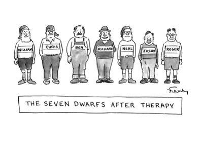 Seven dwarfs standing in a row looking very normal with their real names a… - New Yorker Cartoon by Mike Twohy