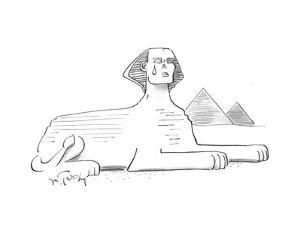 (The statue of the Sphinx cries a tear.) - Cartoon by Mike Twohy