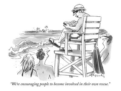 """We're encouraging people to become involved in their own rescue."" - New Yorker Cartoon by Mike Twohy"