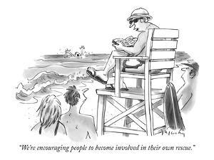 """""""We're encouraging people to become involved in their own rescue."""" - New Yorker Cartoon by Mike Twohy"""