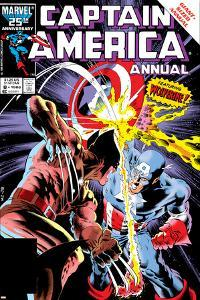 Captain America Annual No.8 Cover: Captain America and Wolverine Flying by Mike Zeck