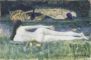 Laying Nude, 1902 by Mikhail Alexandrovich Vrubel
