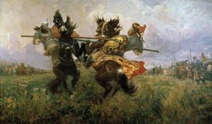 Single Combat of Peresvet and Temir-Murza on the Kulikovo Field in 1380, 1943 by Mikhail Ivanovich Avilov