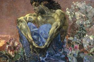 Demon Seated in a Garden, 1890 by Mikhail Vrubel