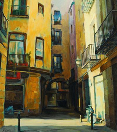 Court Yard in Gothic Quarter of Barcelona, Painting, Illustratio by Mikhail Zahranichny
