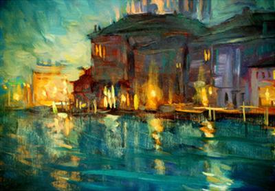 Night Landscape to Venice, Painting by Oil on Plywood, Illustrat by Mikhail Zahranichny