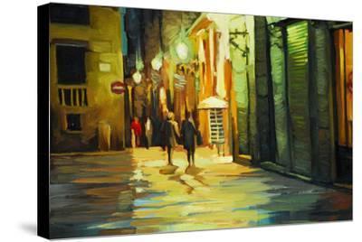 Rain in Gothic Quarter of Barcelona, Painting by Oil, Illustrati