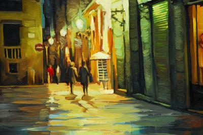 Rain in Gothic Quarter of Barcelona, Painting by Oil, Illustrati by Mikhail Zahranichny