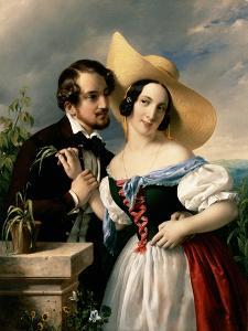 Flirtation, 1841 by Miklos Barabas