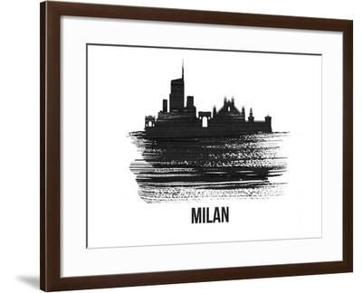 Milan Skyline Brush Stroke - Black II-NaxArt-Framed Art Print