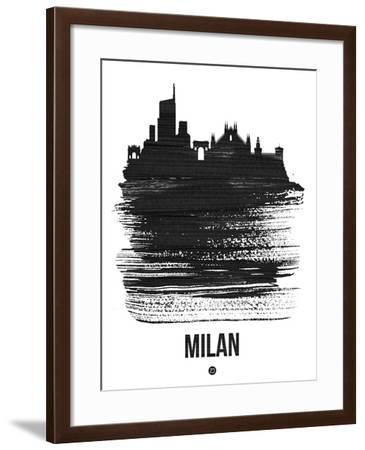 Milan Skyline Brush Stroke - Black-NaxArt-Framed Art Print
