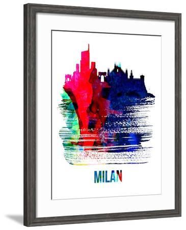 Milan Skyline Brush Stroke - Watercolor-NaxArt-Framed Art Print