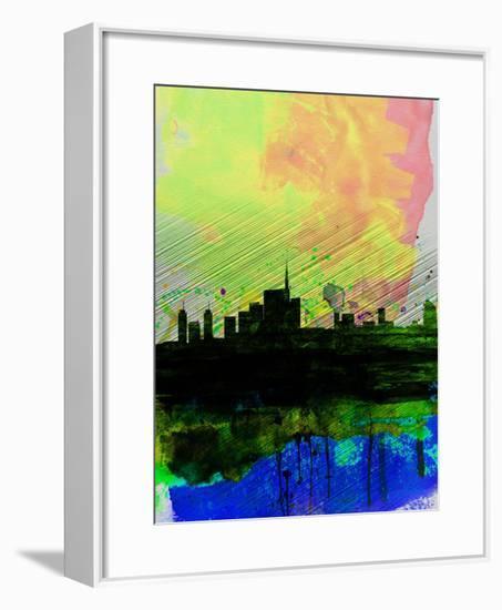 Milan Watercolor Skyline 2-NaxArt-Framed Art Print