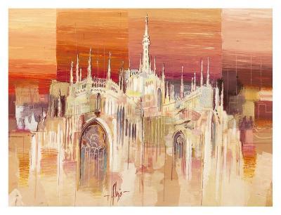 Milano al tramonto-Luigi Florio-Art Print