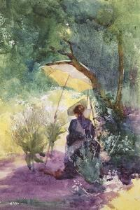 A Lady Sketching in a Glade under the Shade of a Parasol by Mildred Anne Butler