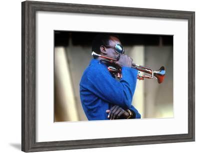 Miles Davis, American Composer and Jazz Trumpet Player, Newport Jazz Festival July 4 1969--Framed Photo