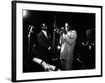Miles Davis (C) with Oscar Pettiford and Bud Powell, Birdland, 1949--Framed Photographic Print