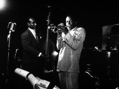 Miles Davis (C) with Oscar Pettiford and Bud Powell, Birdland, 1949--Photo