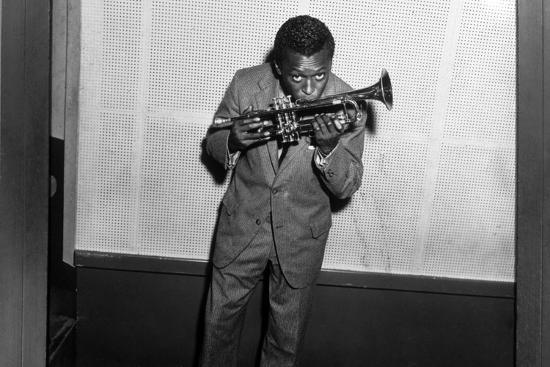 Miles Davis Kissing Trumpet--Photo