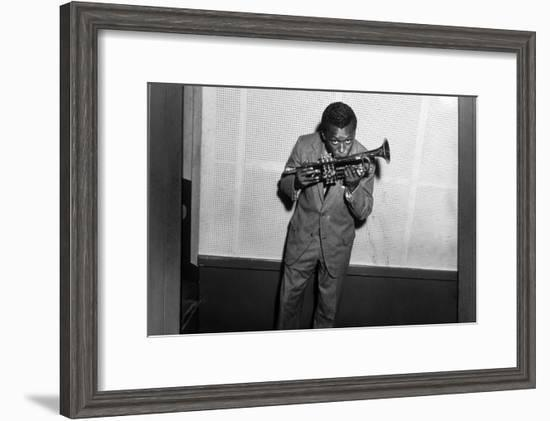 Miles Davis Kissing Trumpet--Framed Photo