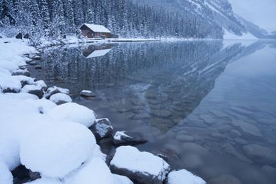 Boat House at Lake Louise, Banff National Park, Rocky Mountains, Alberta, Canada by Miles Ertman