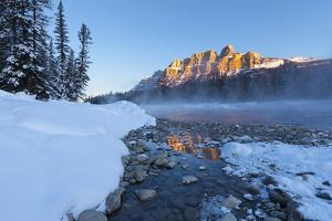 Castle Mountain and the Bow River in Winter, Banff National Park, Alberta, Canada, North America by Miles Ertman