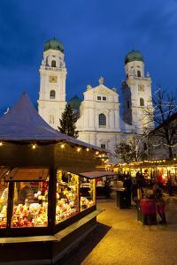 Christmas Market in Front of the Cathedral of Saint Stephan, Passau, Bavaria, Germany, Europe by Miles Ertman