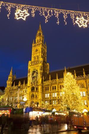 Christmas Market in Marienplatz and the New Town Hall, Munich, Bavaria, Germany, Europe by Miles Ertman