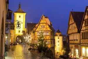 Christmas Tree at the Plonlein, Rothenburg Ob Der Tauber, Bavaria, Germany, Europe by Miles Ertman