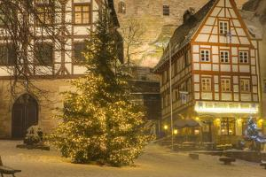 Christmas Tree Lit Up at Night in the Historic Center of Nuremberg, Germany, Europe by Miles Ertman