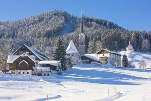 Gosau in Winter, Gosau, Salzkammergut, Austria, Europe by Miles Ertman