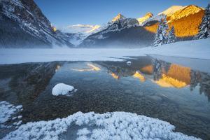 Lake Louise at Sunrise in Winter, Banff National Park, Alberta, Canada, North America by Miles Ertman