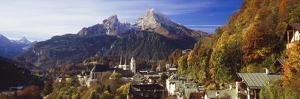 Overview of Berchtesgaden and the Watzmann Mountain in Autumn, Berchtesgaden, Bavaria, Germany by Miles Ertman