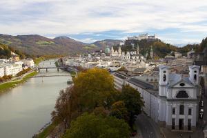 Overview of Salzburg in Autumn, Salzburg, Austria, Europe by Miles Ertman