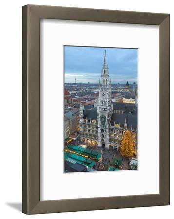Overview of the Marienplatz Christmas Market and the New Town Hall, Munich, Bavaria, Germany