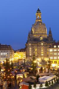 Overview of the New Market Christmas Market Beneath the Frauenkirche, Dresden, Saxony, Germany by Miles Ertman