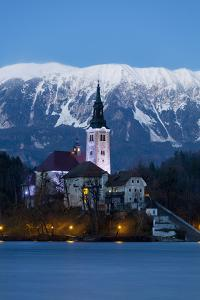 The Assumption of Mary Pilgrimage Church on Lake Bled at Dusk, Bled, Slovenia, Europe by Miles Ertman