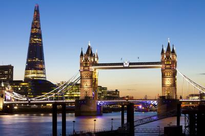 The Shard and Tower Bridge at Night, London, England, United Kingdom, Europe