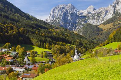 View of Ramsau in Autumn, Near Berchtesgaden, Bavaria, Germany, Europe