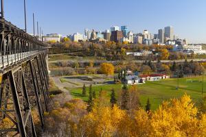 View of the Edmonton Skyline and the High Level Bridge in Autumn, Edmonton, Alberta, Canada by Miles Ertman