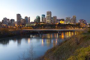 View of the Edmonton Skyline Reflected in the North Saskatchewan River, Edmonton, Alberta, Canada by Miles Ertman