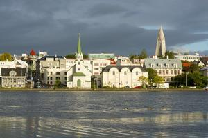 View of the Historic Centre and Lake Tjornin, Reykjavik, Iceland, Polar Regions by Miles Ertman