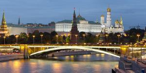 View of the Kremlin on the banks of the Moscow River, Moscow, Russia, Europe by Miles Ertman