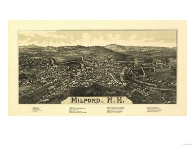 Milford, New Hampshire - Panoramic Map-Lantern Press-Art Print