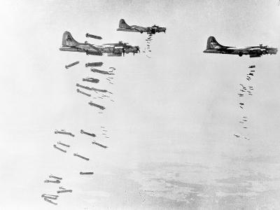 Military Airplanes Dropping Shells over Germany--Photographic Print