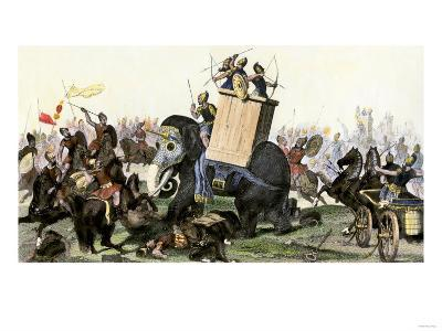 Military Battle Using Armored Elephants and Chariots in the Time of the Roman Empire--Giclee Print
