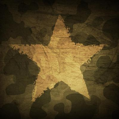 Military Camouflage Background With Grunge Star-pashabo-Art Print