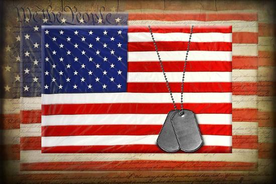 Military Dog Tags On American Flags-14ktgold-Art Print