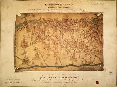 Military Map of Lombardy Parchment, 16th Century--Giclee Print